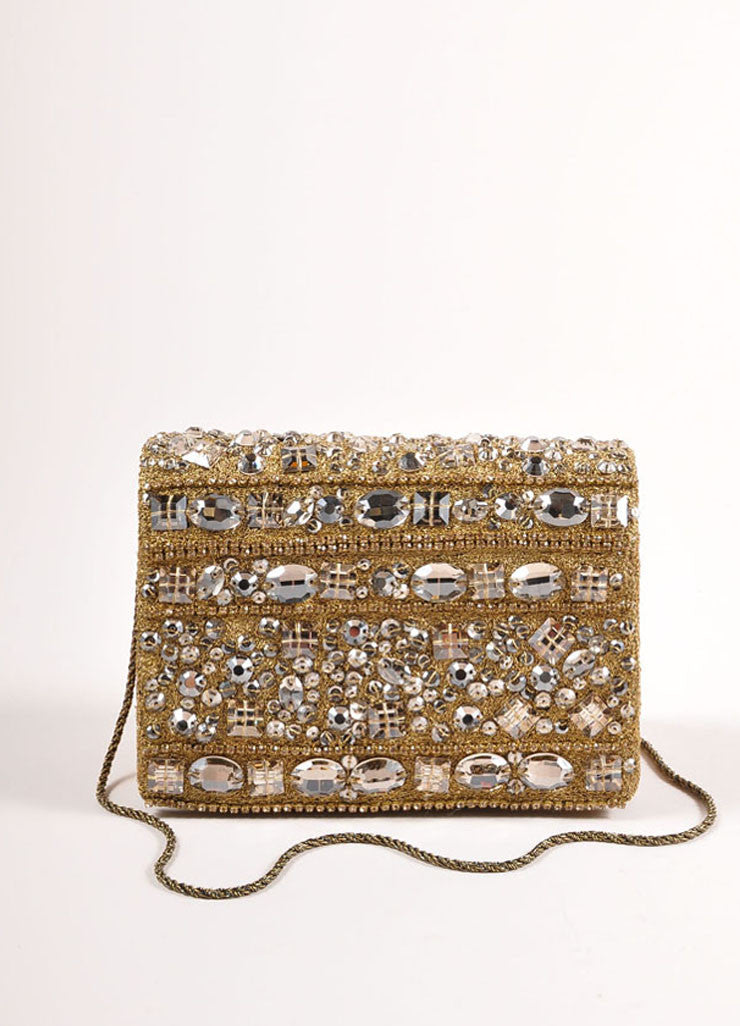 Marchesa Gold Metallic Leather Rhinestone Embellished Clutch Bag Frontview