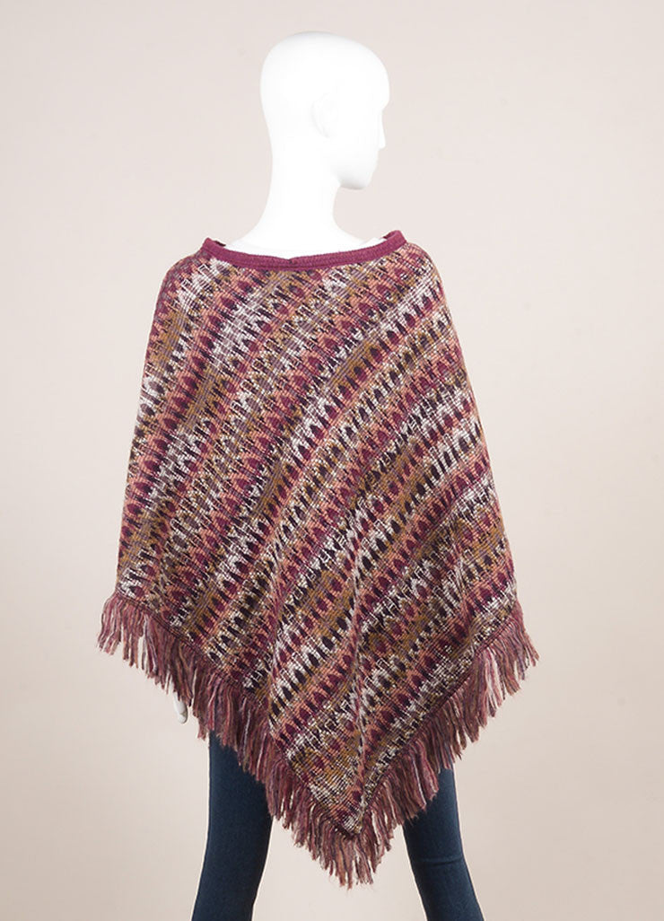 Missoni Purple and Multicolor Abstract Pattern Knit Mohair and Wool Poncho Backview