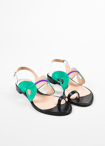 "Paula Cademartori Black, Green, and White Leather Suede ""Danae"" Sandals Frontview"
