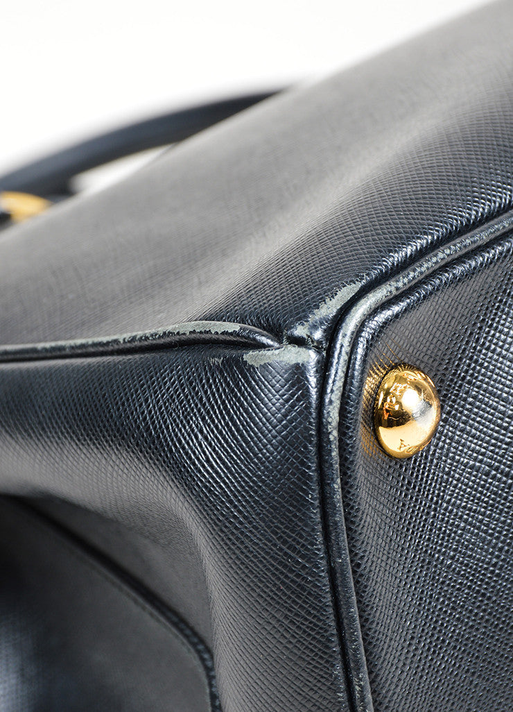 "Black Prada Saffiano Leather ""Lux"" Shoulder Tote Bag Detail"