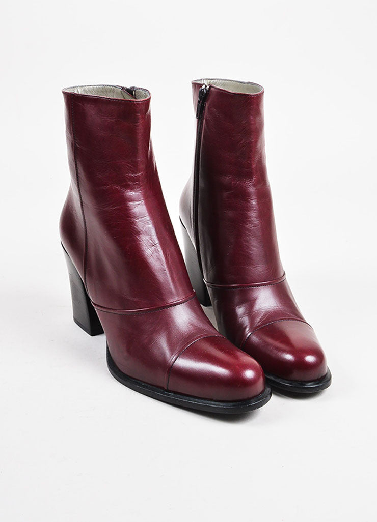 Prada Black and Maroon Leather Block Heel Ankle Boots