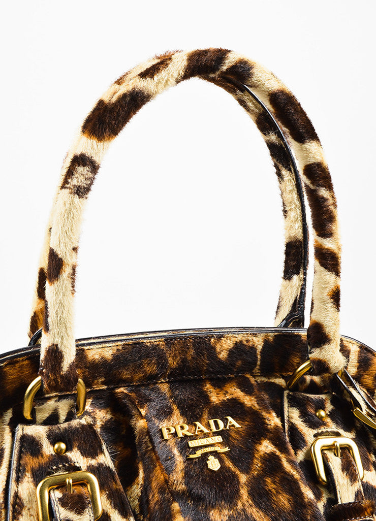 Prada Brown, Tan, and Cream Pony Hair and Leather Leopard Print Cavallino Frame Tote Bag Detail 2