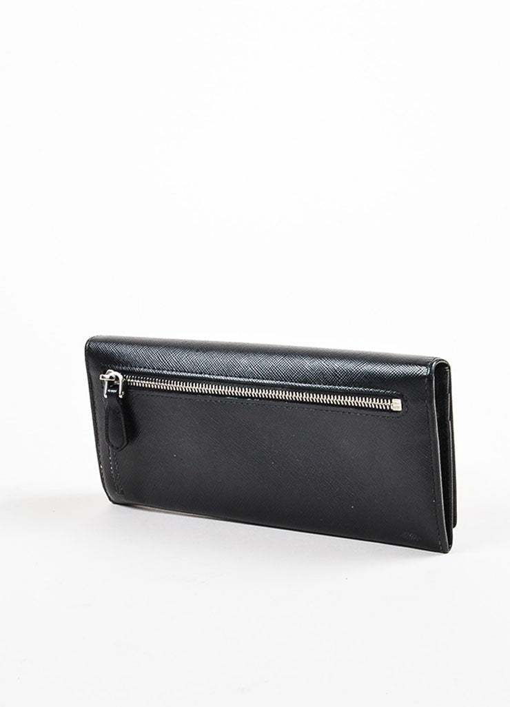 Prada Black Coated Saffiano Leather Snap Flap Letter Logo Continental Wallet Backview