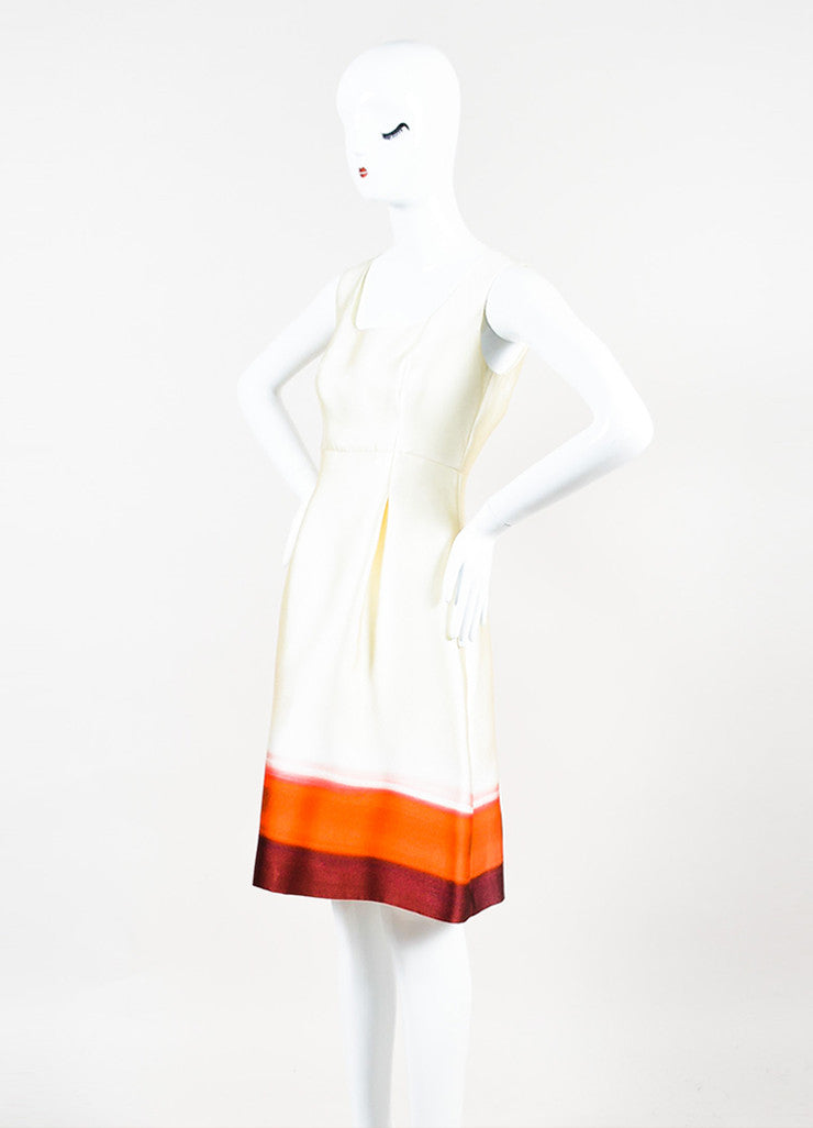 Prada Cream and Red Silk Blend Ombre Print Hem Sleeveless Fit Flare Dress Sideview