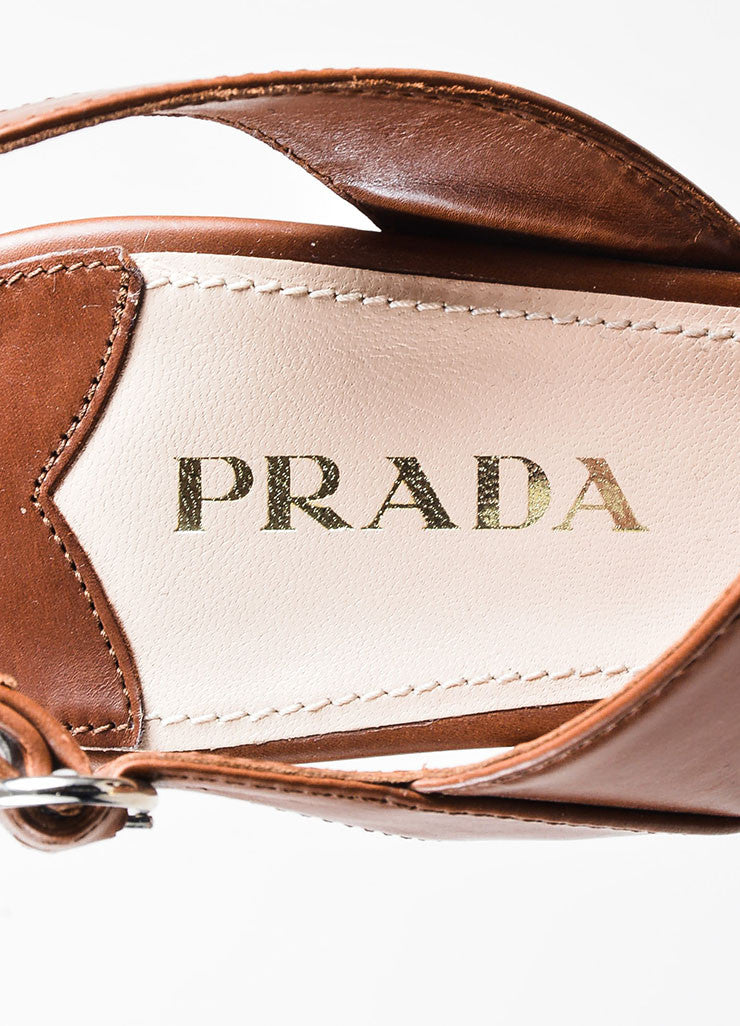 Brown Prada Leather Asymmetrical Strap Wedge Heel Sandals Brand