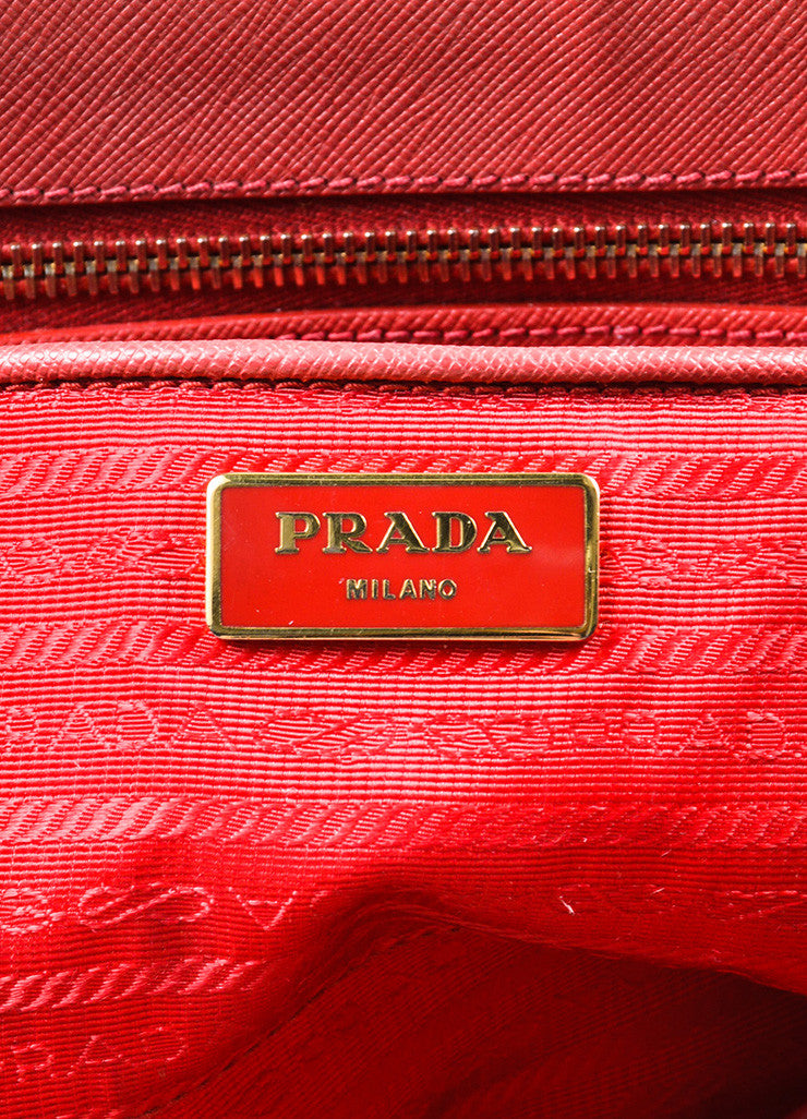"Prada Red Saffiano Lux Leather ""Medium Executive Tote"" Handbag Brand"