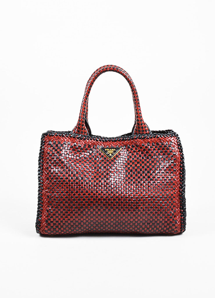 "Prada ""Rubino"" Red and Black Leather Woven Top Handle Cross Body ""Madras"" Satchel Bag frontview"