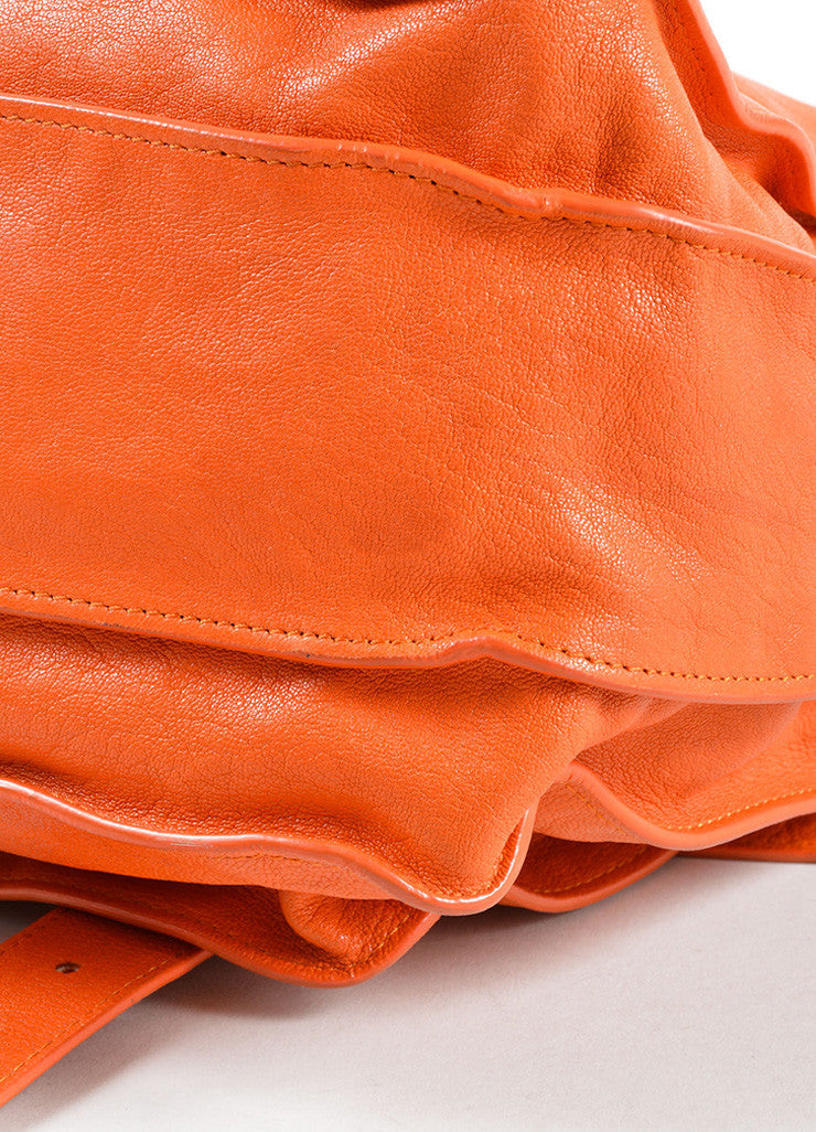 "Proenza Schouler Orange ""PS1"" Large Satchel Flap Bag Detail"
