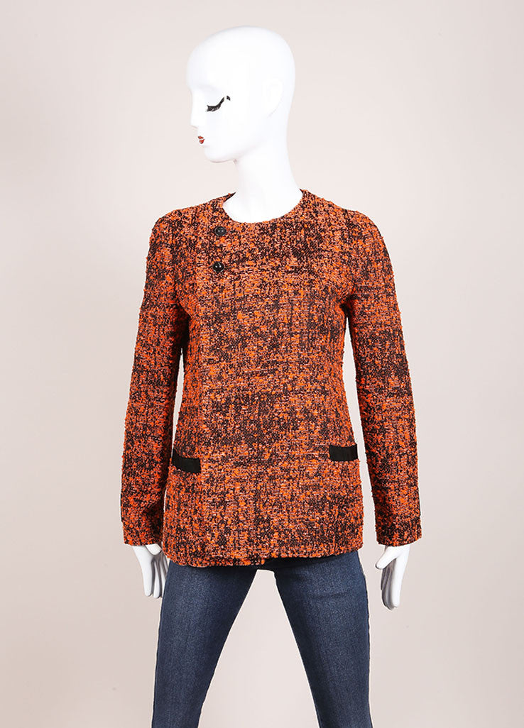 Proenza Schouler Orange and Black Cotton Blend Tweed Buttoned Jacket Frontview
