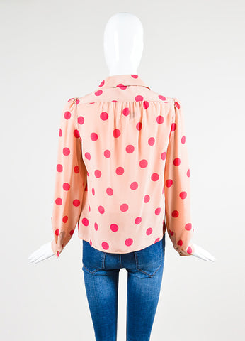 Red Valentino Pink Silk Polka Dot Button Down Blouse Backview