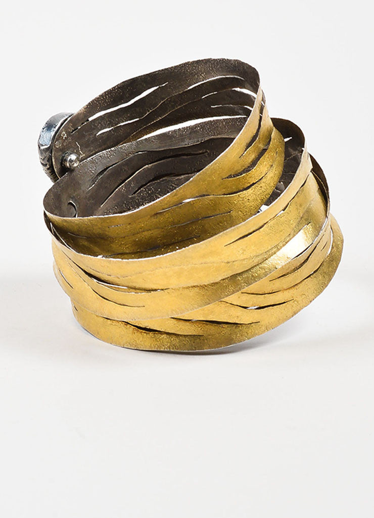 18K Yellow Gold and Sterling Silver Reiko Ishiyama Cut Out Spiral Wrap Bracelet Backview