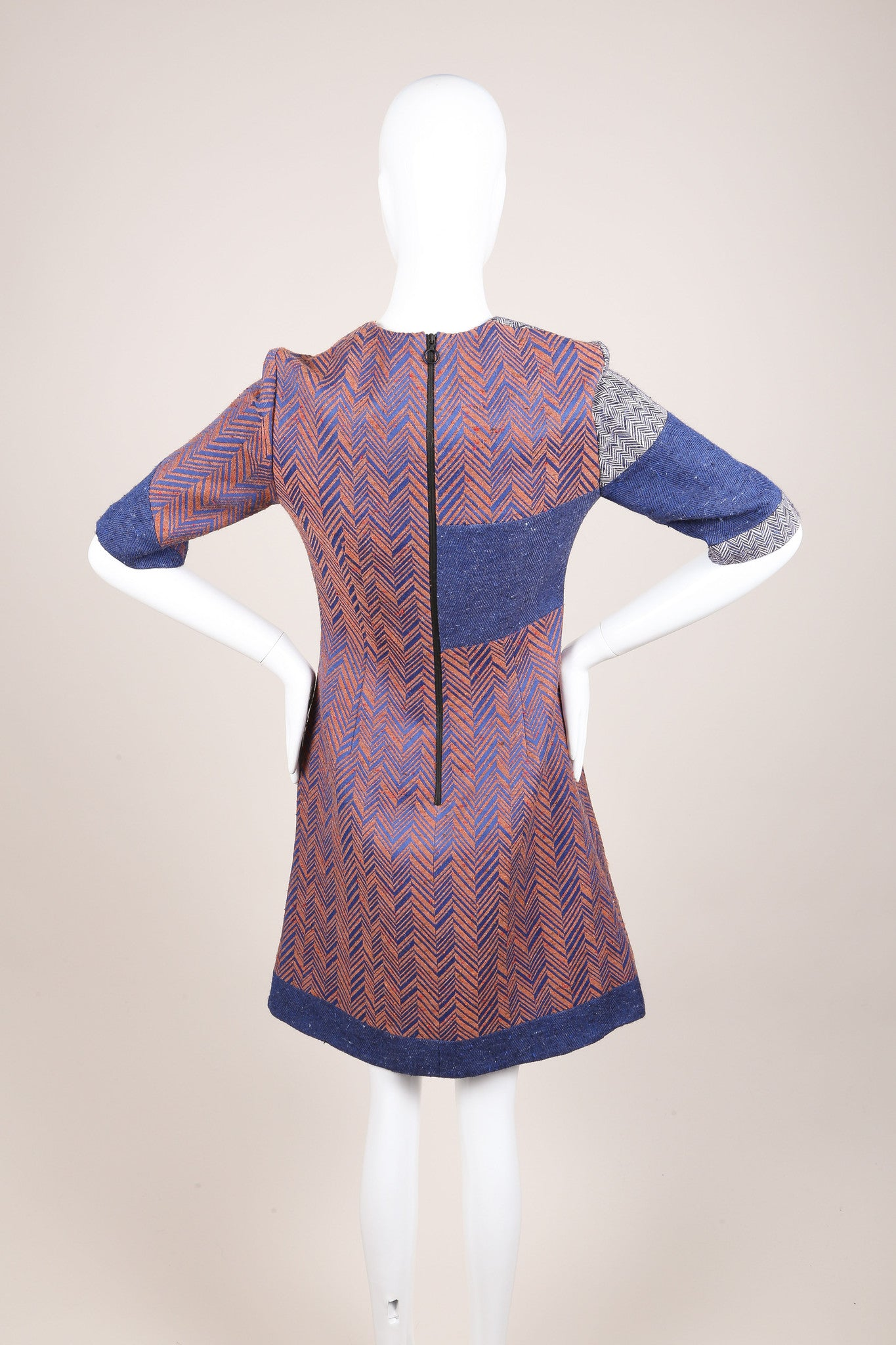 Roksanda New With Tags Blue, White, and Copper Herringbone Sheath Dress Backview