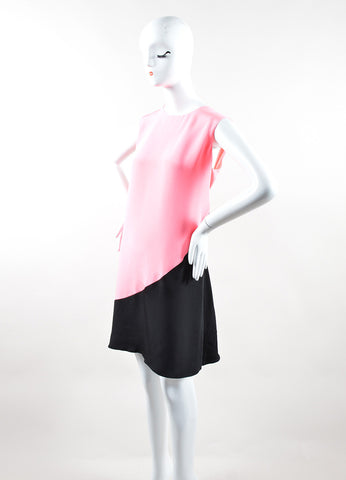 Roksanda Neon Pink and Black Silk Contrast Sleeveless Tent Dress Sideview