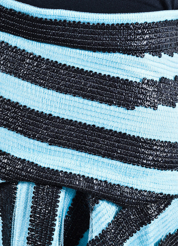 Roksanda Sky Blue and Black Textured PVC Stripe Angled Hem Skirt Detail