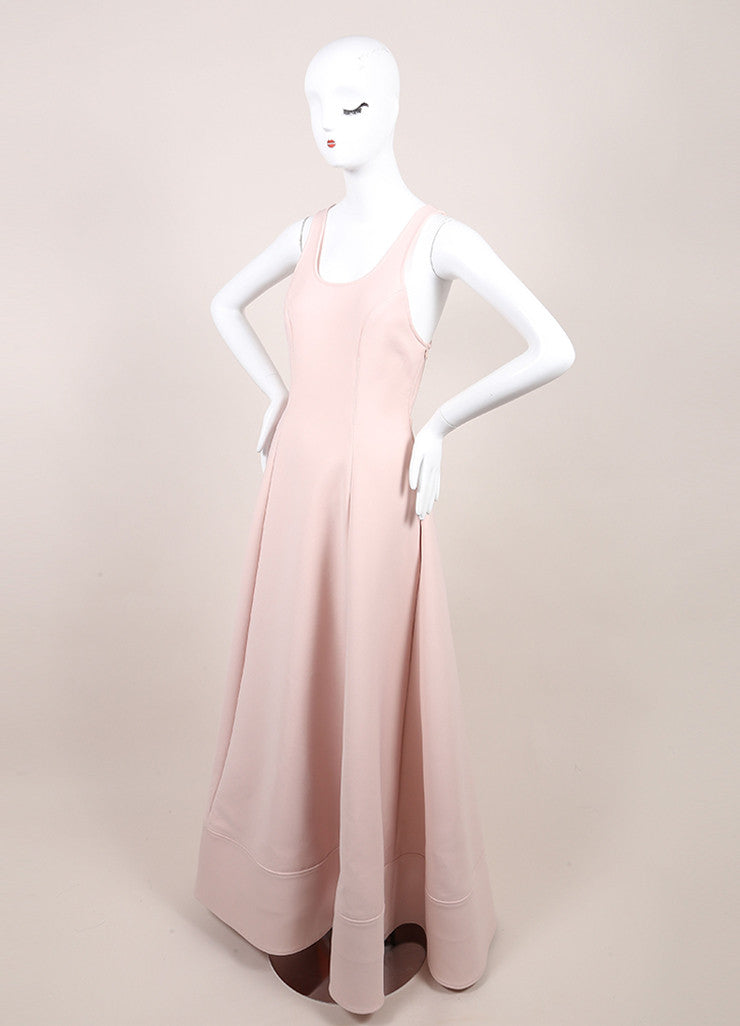 Rosie Assoulin New With Tags Blush Pink Sleeveless Flared Knit Swimsuit Gown Sideview