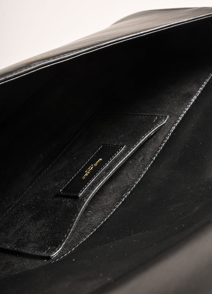 "Saint Laurent New With Tags Black Leather and Gold Toned ""Babylone"" Small Shoulder Bag Interior"