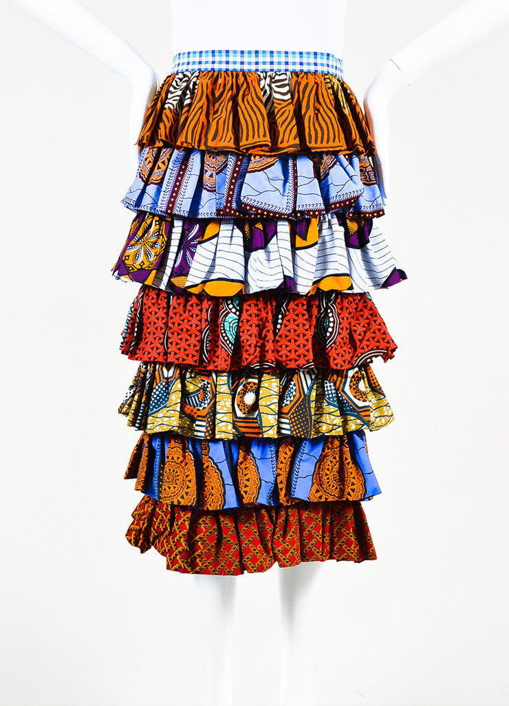 "Stella Jean Multicolor Mixed Print ""Apicoltore"" Ruffled Skirt Frontview"