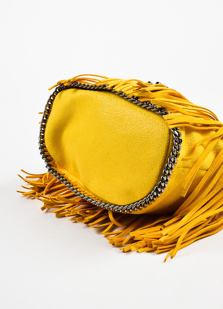"Stella McCartney Yellow Shaggy Deer ""Sun Falabella"" Fringe Bucket Bag Bottom View"