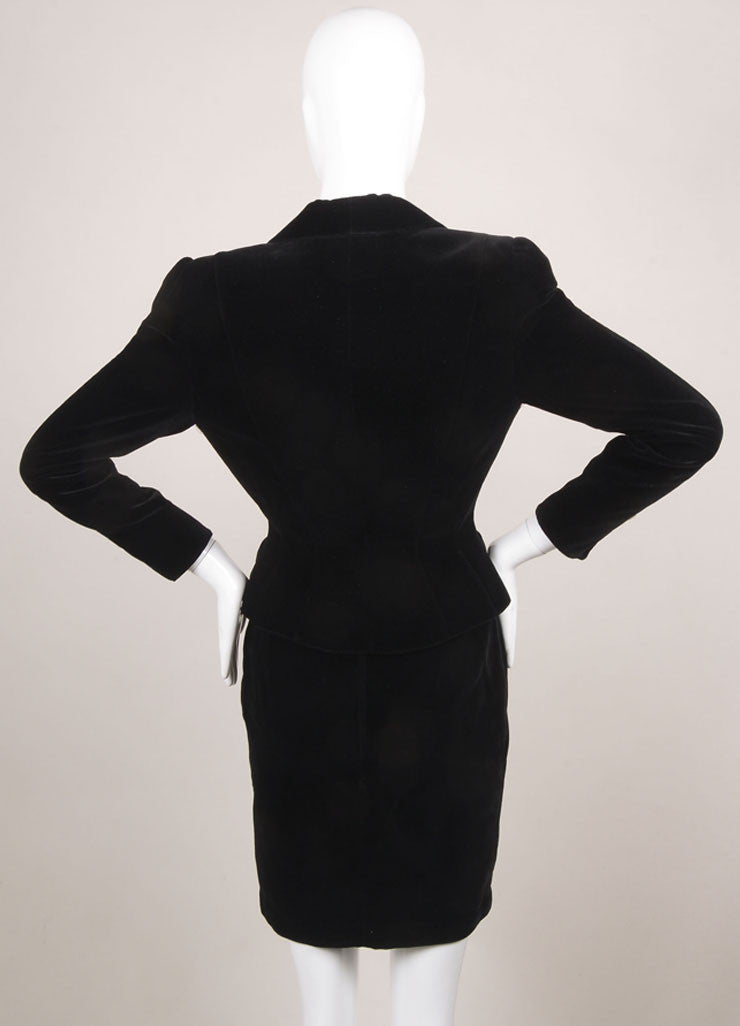 Thierry Mugler Black Velvet Rhinestone Butterfly Embellishment Skirt Suit Backview