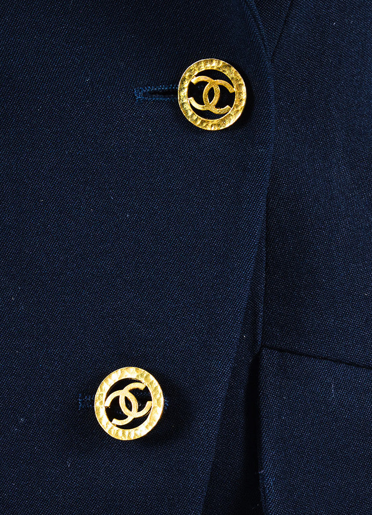 Chanel Navy and Gold Toned Wool and Silk 'CC' Button Blazer Detail