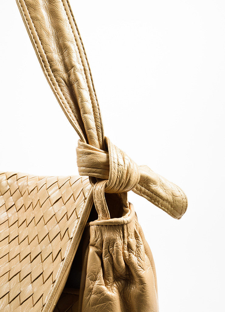 Bottega Veneta Cream Woven Leather Saddle Bag Detail 2