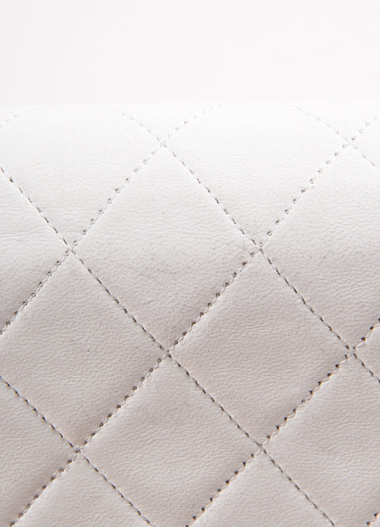 "Chanel Cream Leather Quilted ""CC"" Chain Strap Shoulder Bag Detail 3"
