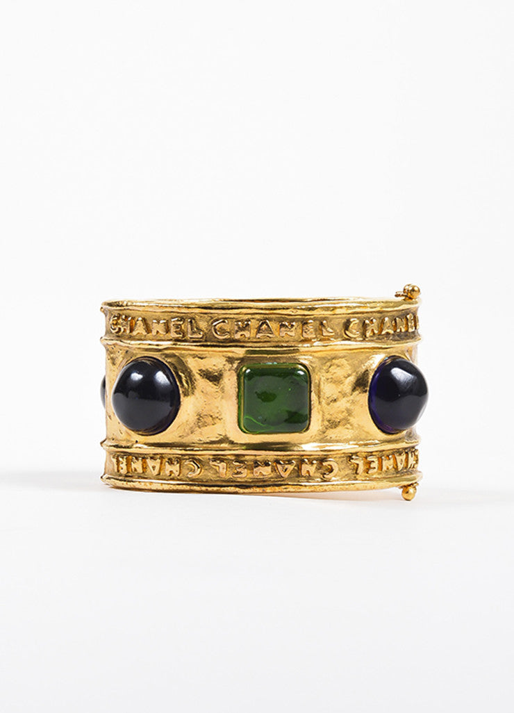 Chanel Gold Toned Hammered Blue and Green Stone Embellished Cuff Bracelet Backview