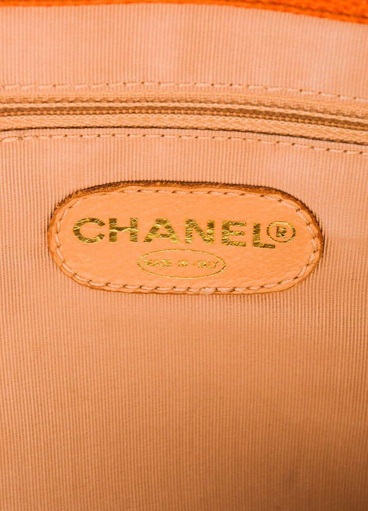 "Cognac and Orange Chanel Large ""CC"" Caviar Square Tote Bag Brand"