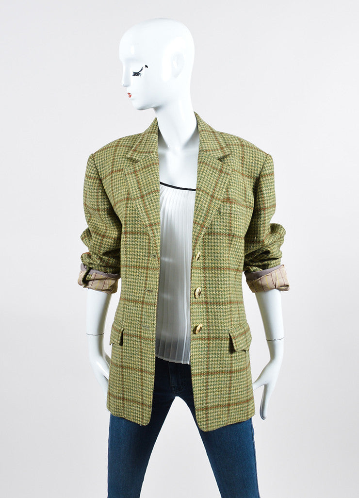 Green and Brown Houndstooth Hermes Suede Elbow Jacket Frontview