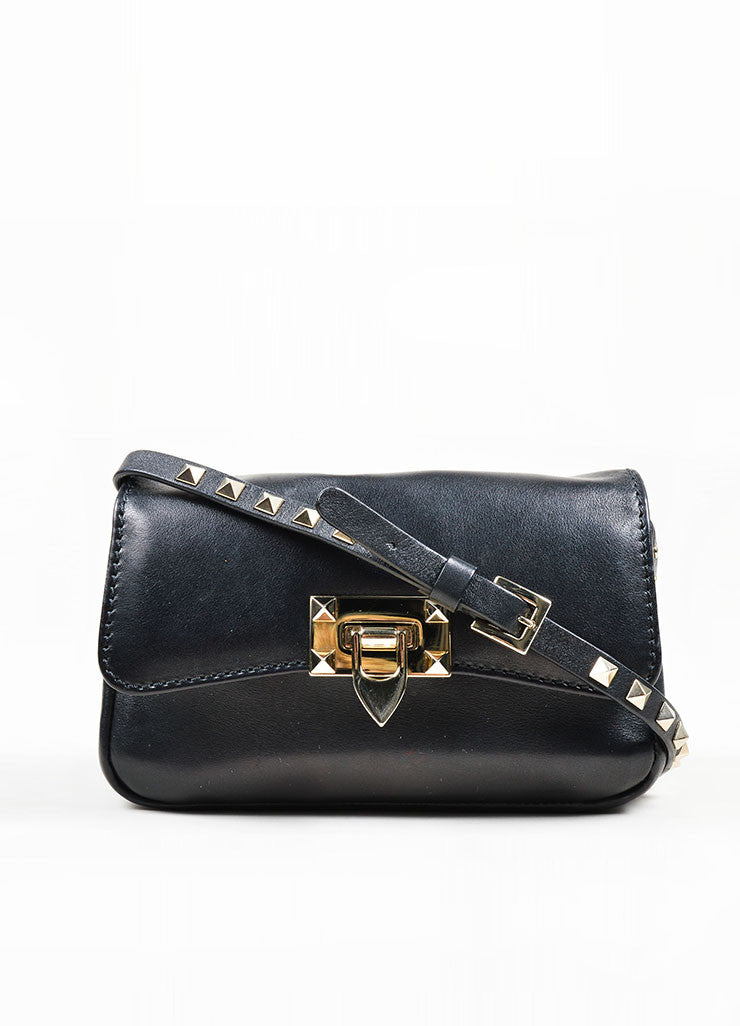 "Black Leather Valentino Studded ""Rockstud"" Flap Shoulder Crossbody Bag Frontview"