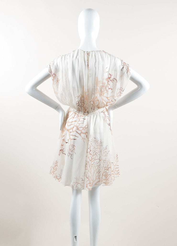 Valentino Cream and Brown Silk Chiffon Coral Print Sleeveless Sheer Dress Backview