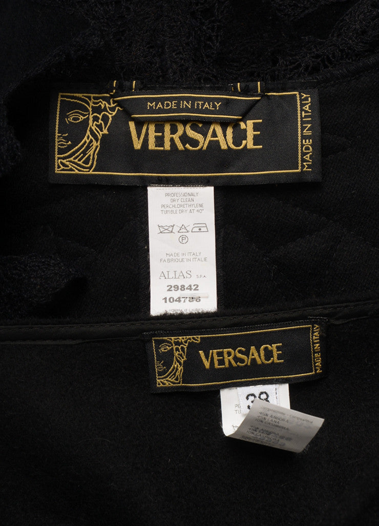 Versace Black Wool Blend Lace Long Sleeve Jacket and Pencil Skirt Suit Brand