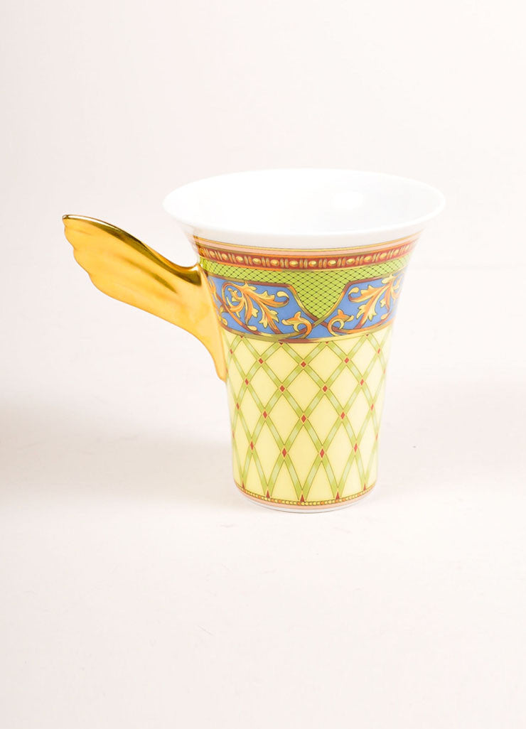 "Versace Rosenthal Gold and Multicolor ""Russian Dream"" Tea Cup Frontview"