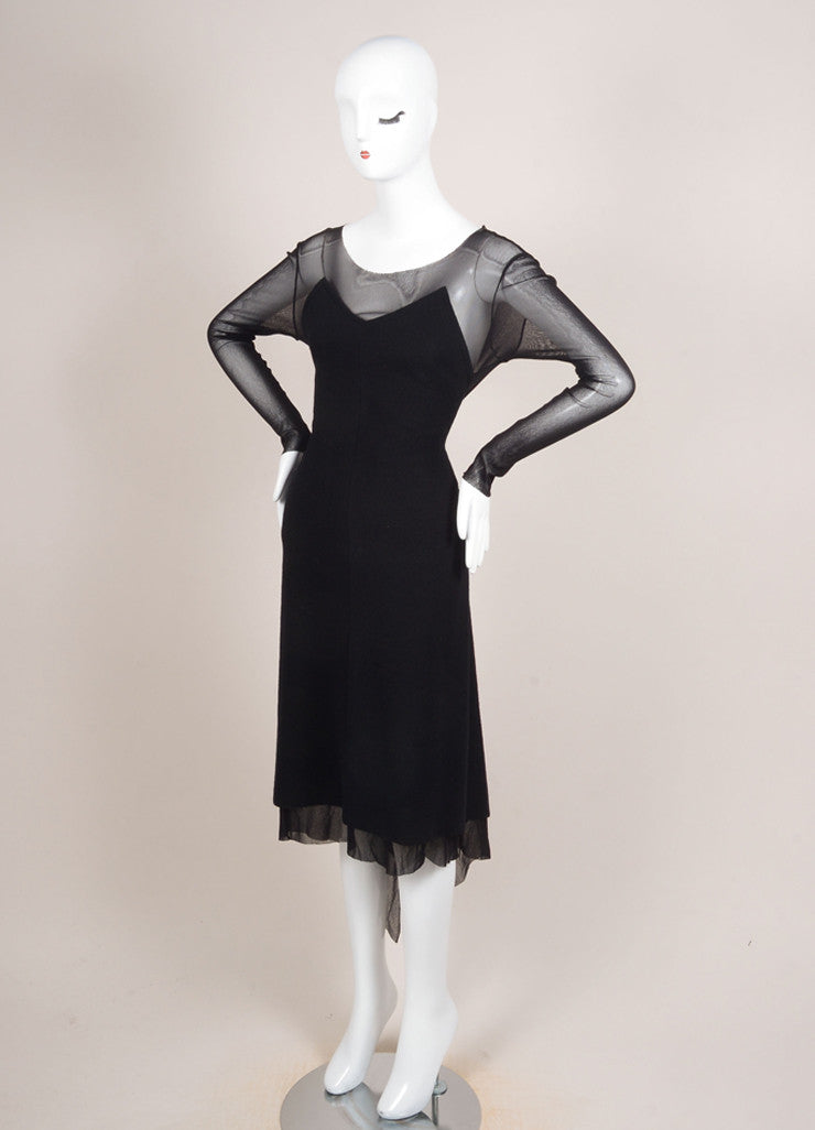 Yohji Yamamoto Black Wool Mesh Long Sleeve Handkerchief Hem Dress Sideview