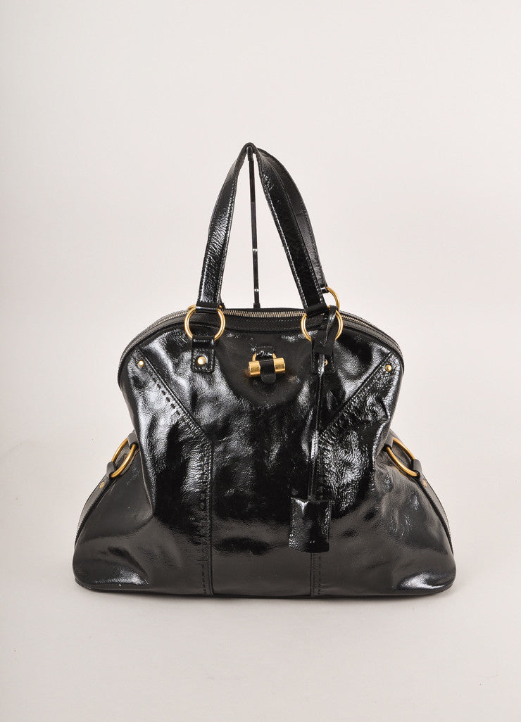 "Yves Saint Laurent Black and Gold Toned Patent Leather Oversized ""Muse"" Bag Frontview"