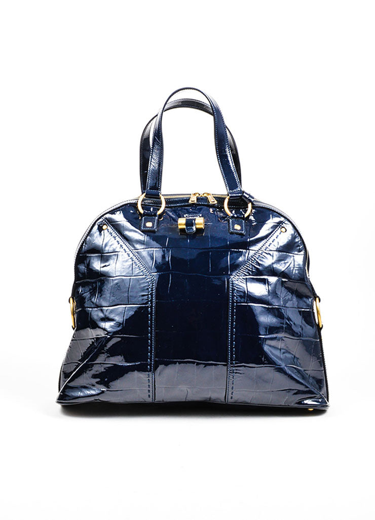 Navy Blue Yves Saint Laurent Crocodile Embossed Patent Leather Large Muse Bag Frontview