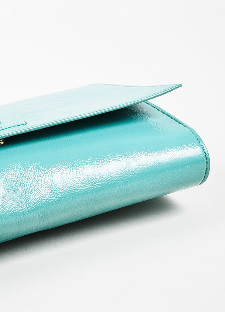 "Yves Saint Laurent Robin's Egg Blue Patent Leather 'YSL' ""Belle Du Jour"" Clutch Bag Bottom View"