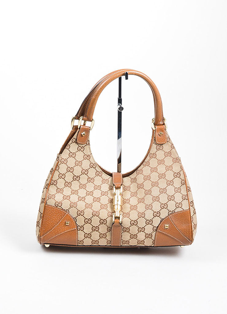 "Tan Gucci Monogram Canvas ""Nailhead Bardot"" Bag Frontview"