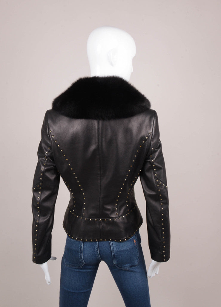 Black, Silver, and Gold Studded Fur Trim Leather Jacket