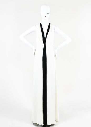 Valentino Black and White Silk Crepe Plunging Neck Color Block Gown Frontview