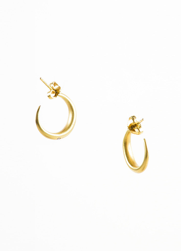 18K Gold and Diamond Small Open Hoop Earrings Backview