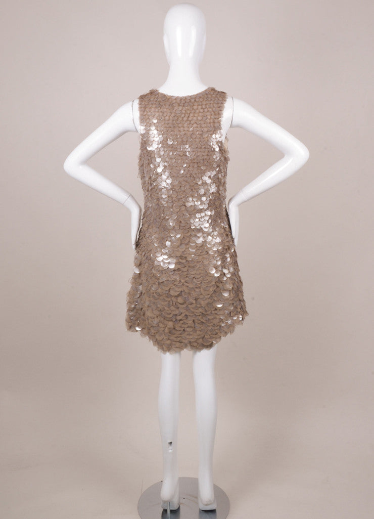 Taupe Silk and Plastic Paillette Embellished Sleeveless Dress