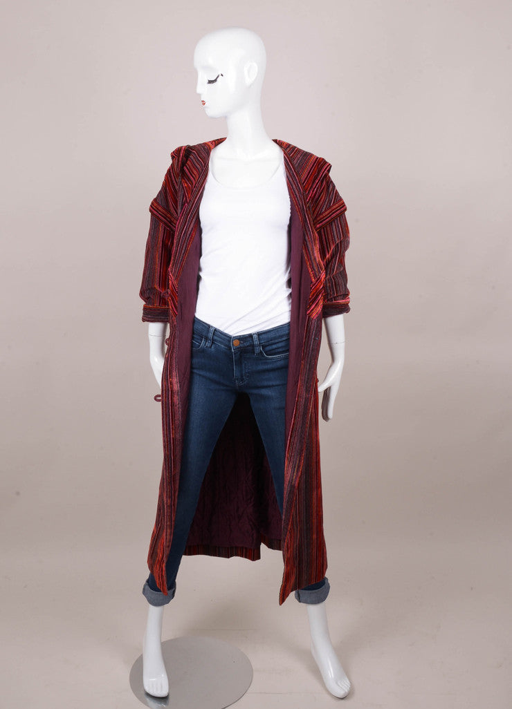 Red Striped Long Sleeve Hooded Velvet Coat