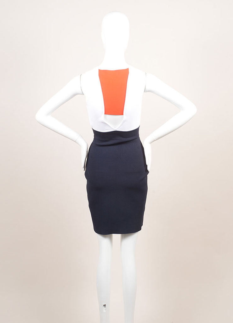 A.L.C. New With Tags White, Navy, and Orange Knit Color Block Bodycon Dress Backview