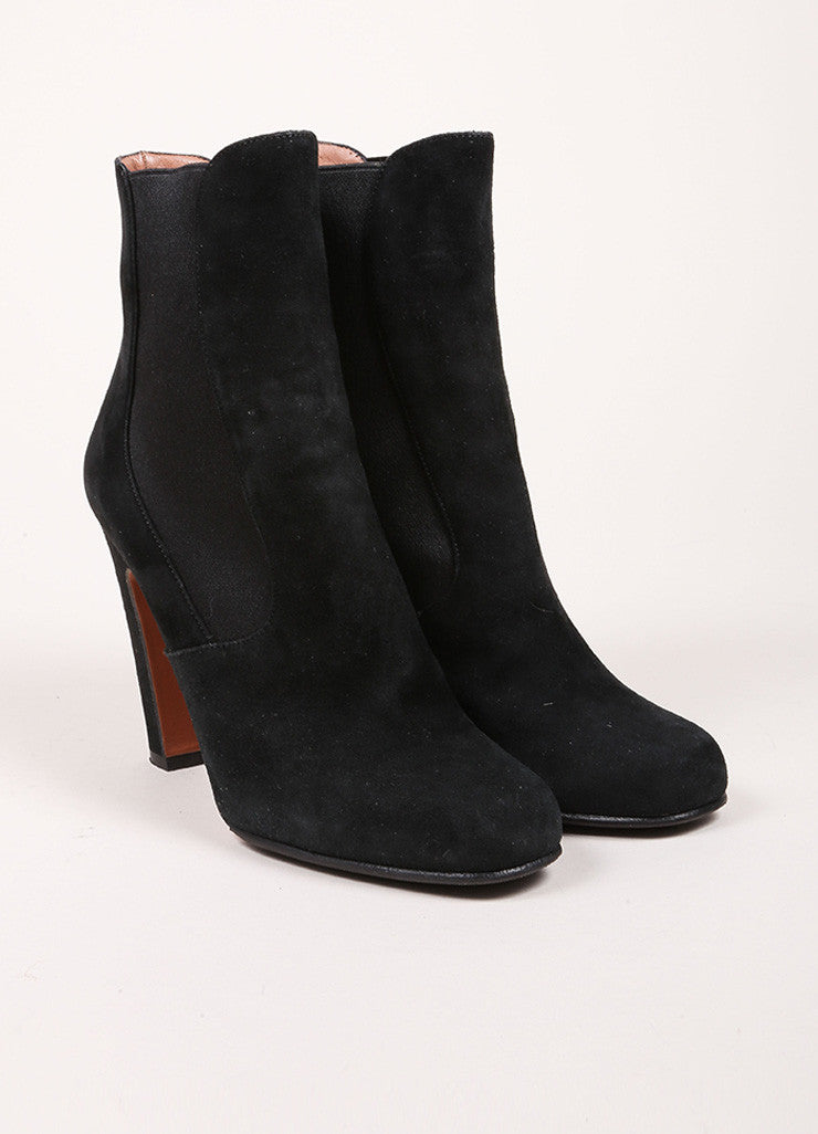 Alaia Black Suede Elastic Square Toe Ankle Boots Frontview