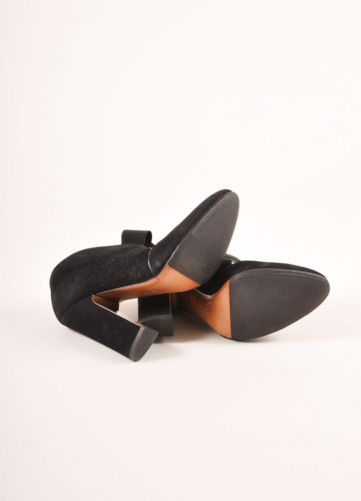 Alaia Black Suede Elastic Strap Chunky Heels Outsoles