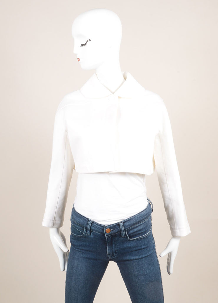 Alaia White Cotton Ribbed Wide Cropped Jacket Frontview