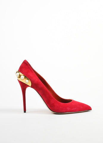 Red Suede Alexander McQueen Faux Pearl Stud Pumps Sideview