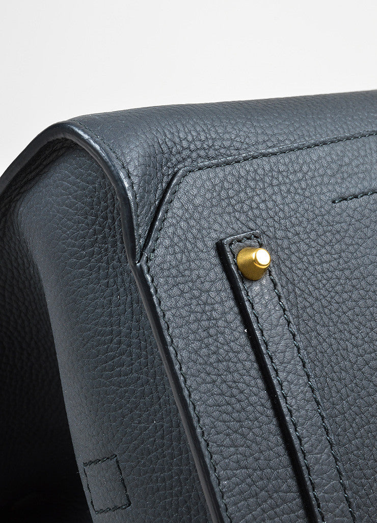 "Black Leather  Anya Hindmarch ""Ephson"" Top Handle Satchel Bag Detail"