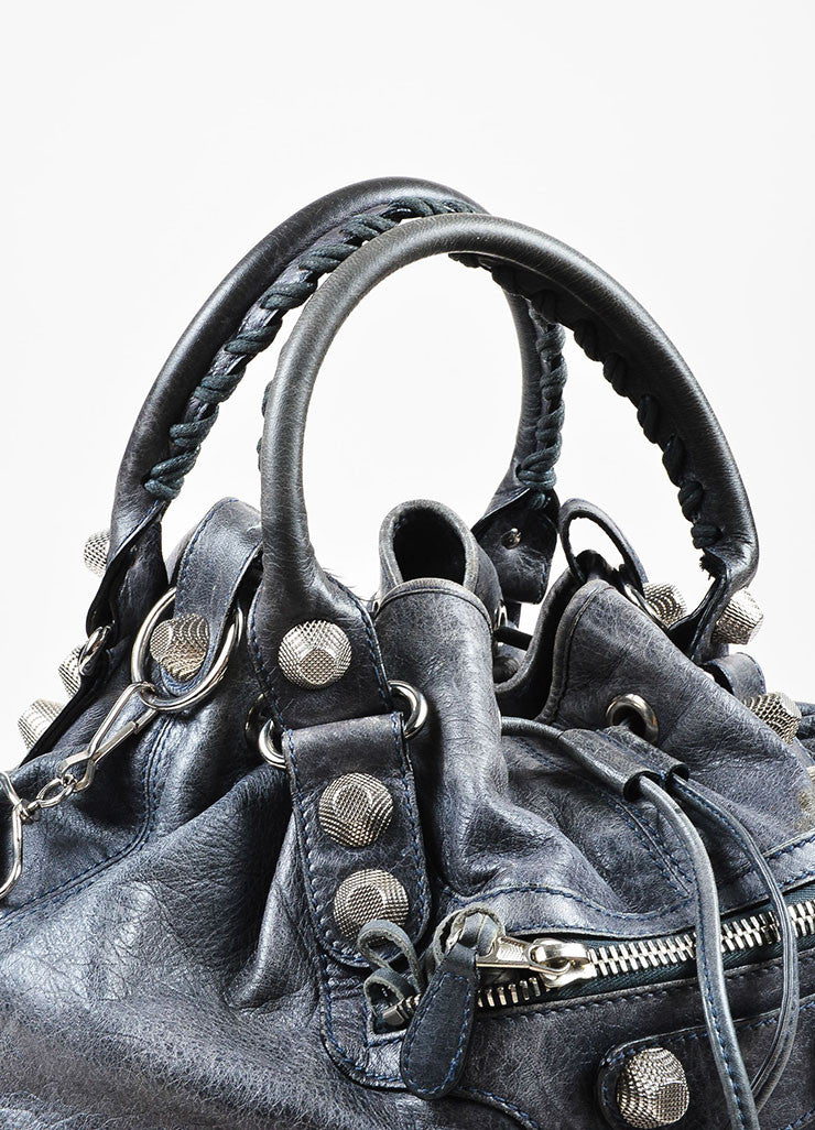 "Balenciaga Grey Distressed Leather ""Giant 21 PomPon"" Bucket Bag Detail 2"